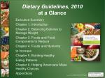 dietary guidelines 2010 at a glance