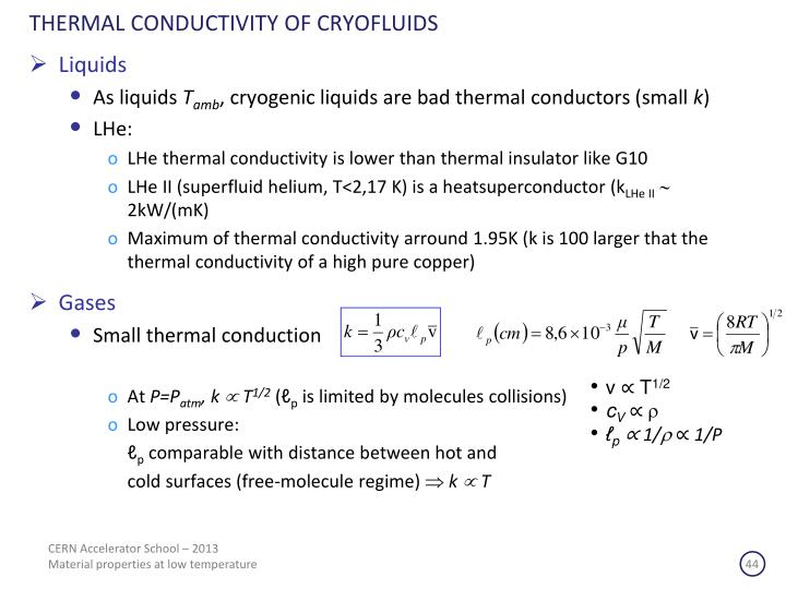THERMAL CONDUCTIVITY OF CRYOFLUIDS
