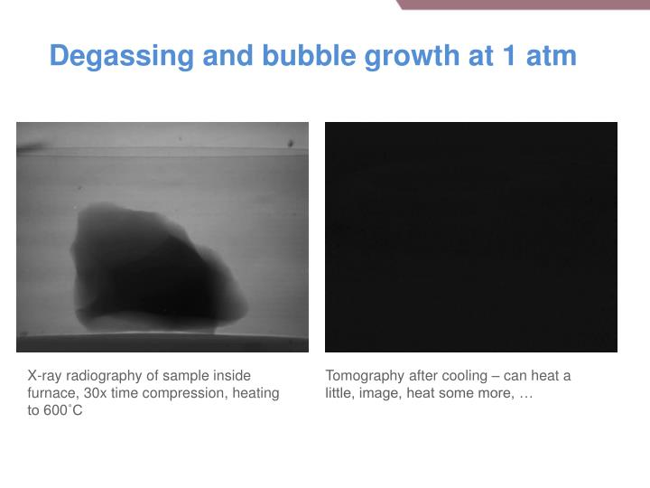Degassing and bubble growth at 1