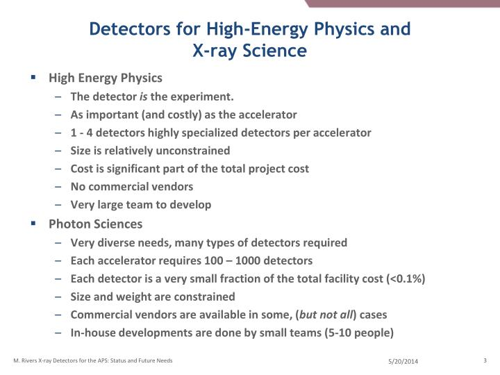 Detectors for high energy physics and x ray science