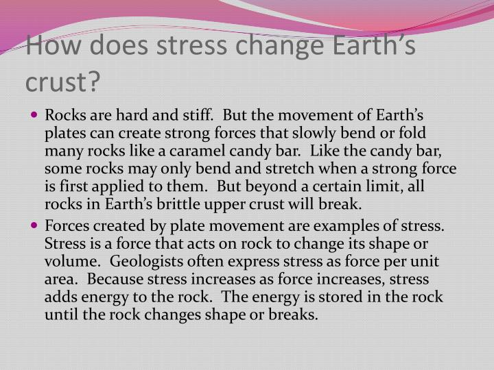 How does stress change earth s crust