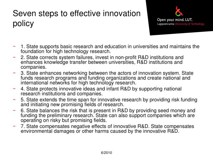 Seven steps to effective innovation policy