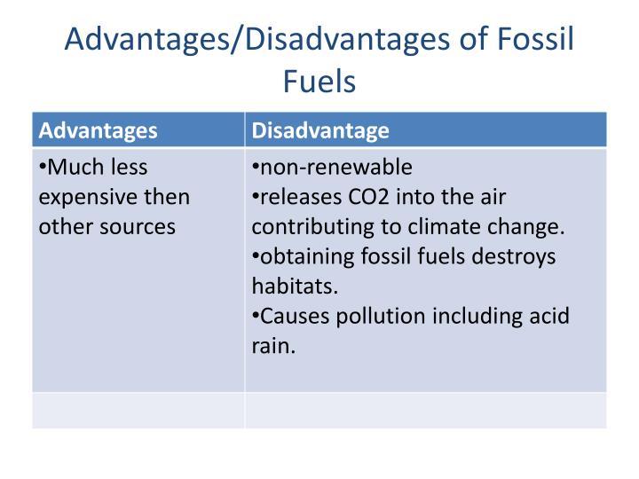 advantages disadvantages of fossil fuels