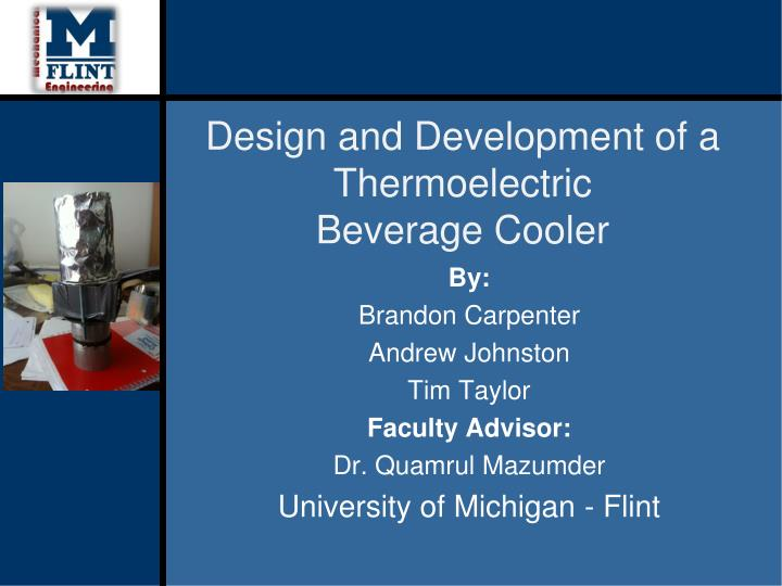 design and development of a thermoelectric beverage cooler n.