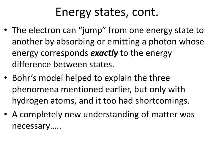 Energy states, cont.