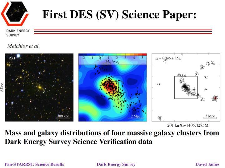 First DES (SV) Science Paper: