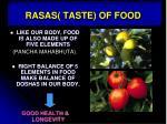 rasas taste of food
