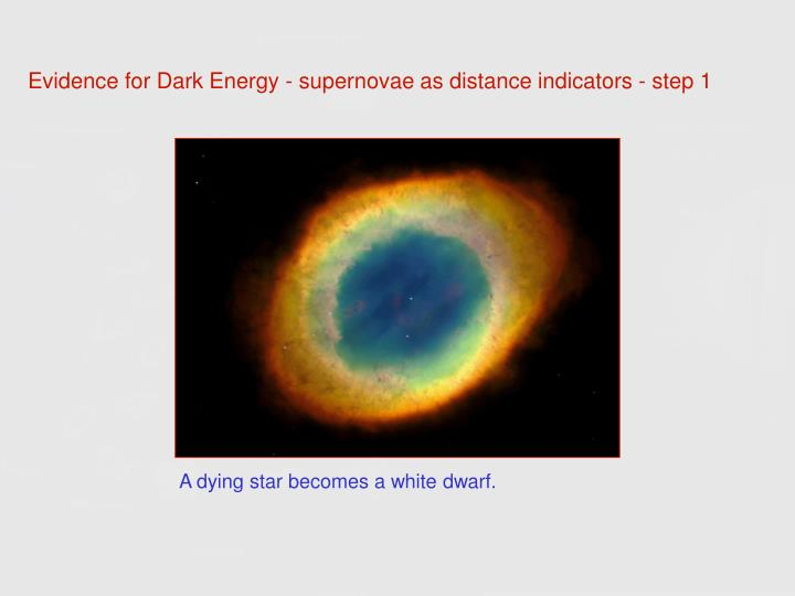 Evidence for Dark Energy - supernovae as distance indicators - step 1