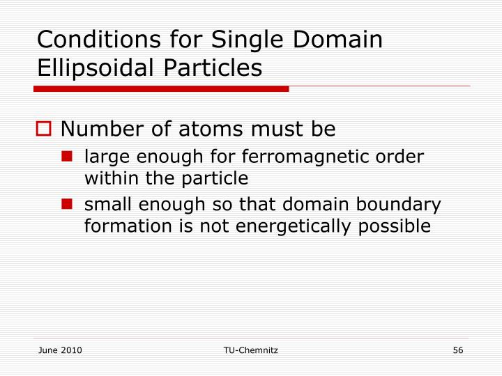 Conditions for Single Domain Ellipsoidal Particles