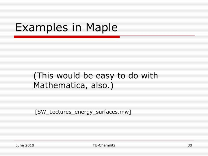 Examples in Maple