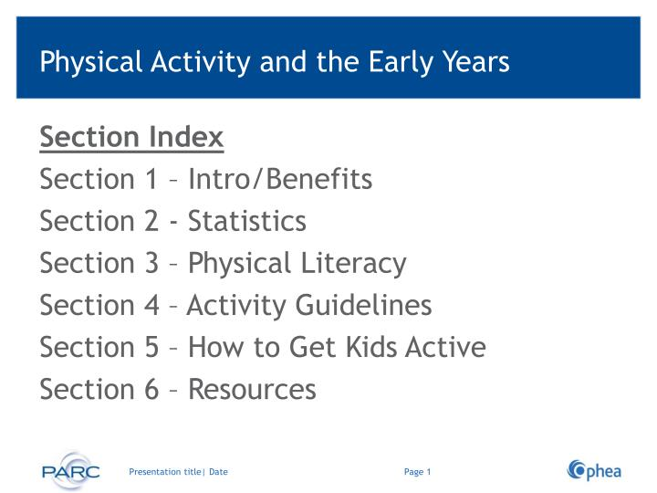physical activity and the early years n.