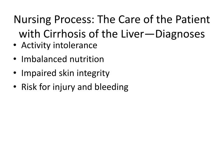 Nursing Process: The Care of the Patient with Cirrhosis of the Liver—Diagnoses