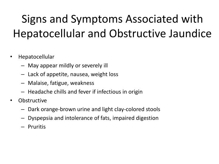 Signs and Symptoms Associated with Hepatocellular and Obstructive Jaundice