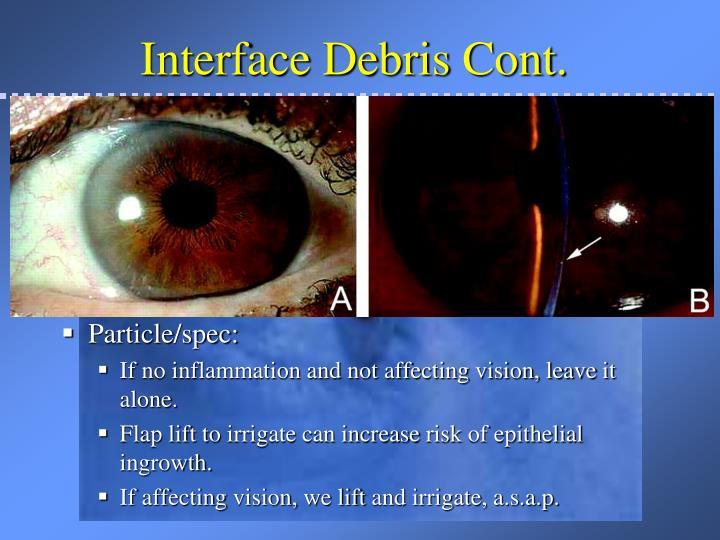 Interface Debris Cont.