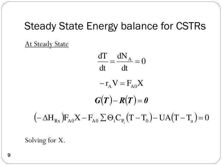 Steady State Energy balance for CSTRs