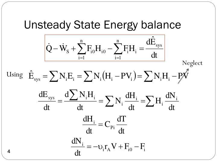 Unsteady State Energy balance