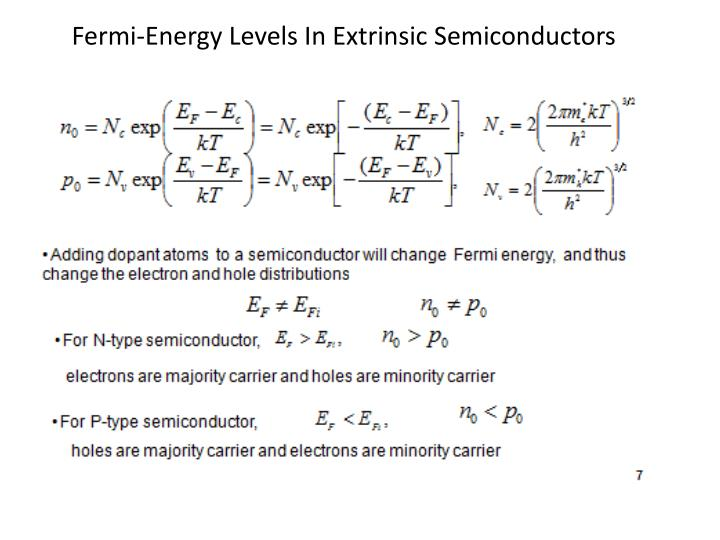 Fermi-Energy Levels In Extrinsic Semiconductors