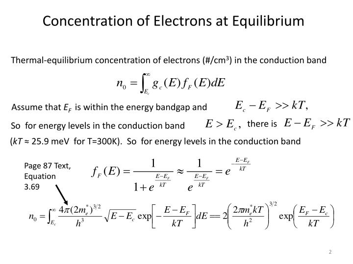 Concentration of Electrons at