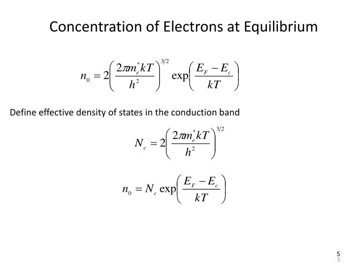 Concentration of Electrons at Equilibrium