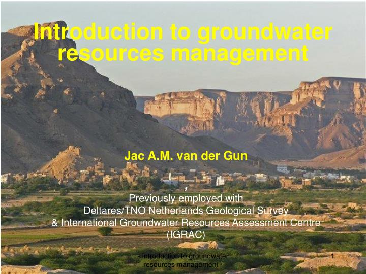 introduction to groundwater resources management n.