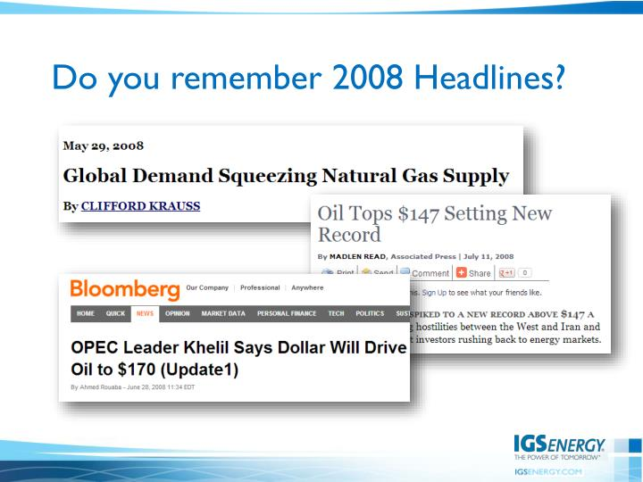 Do you remember 2008 Headlines?