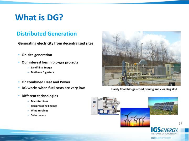 Generating electricity from decentralized sites