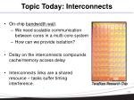 topic today interconnects