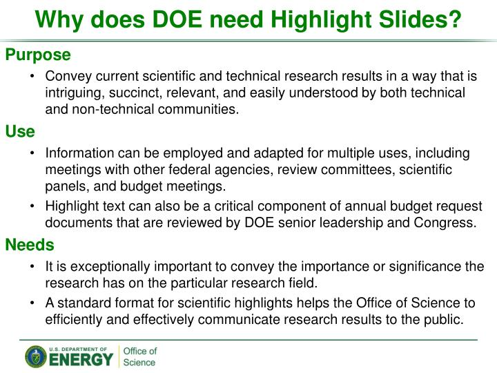 why does doe need highlight slides n.