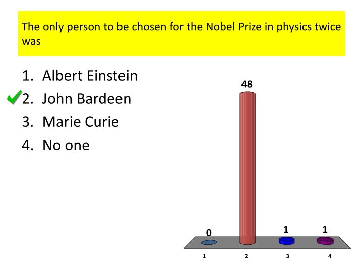 the only person to be chosen for the nobel prize in physics twice was n.