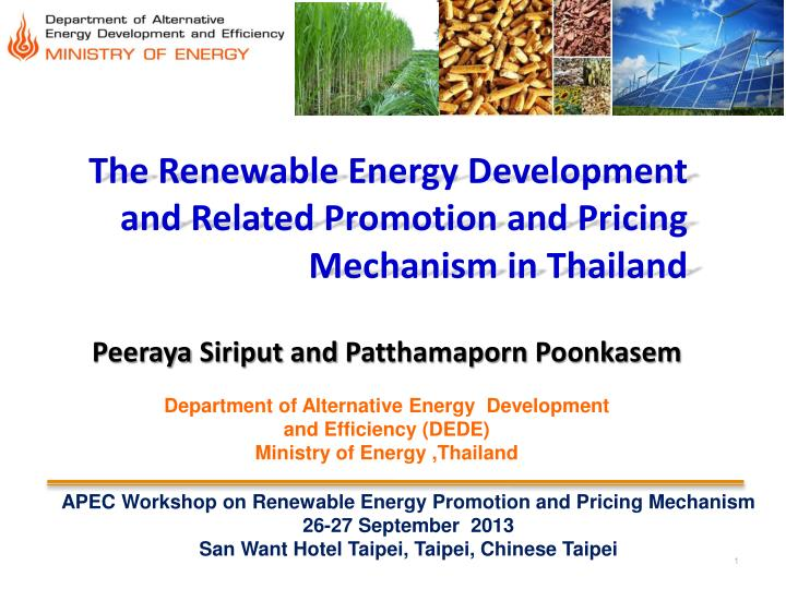 the renewable energy development and related promotion and pricing mechanism in thailand n.