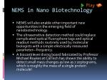 nems in nano biotechnology