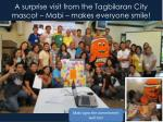 a surprise visit from the tagbilaran city mascot mabi makes everyone smile