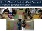 day 1 cfs draft their modified concept models in geographic clusters
