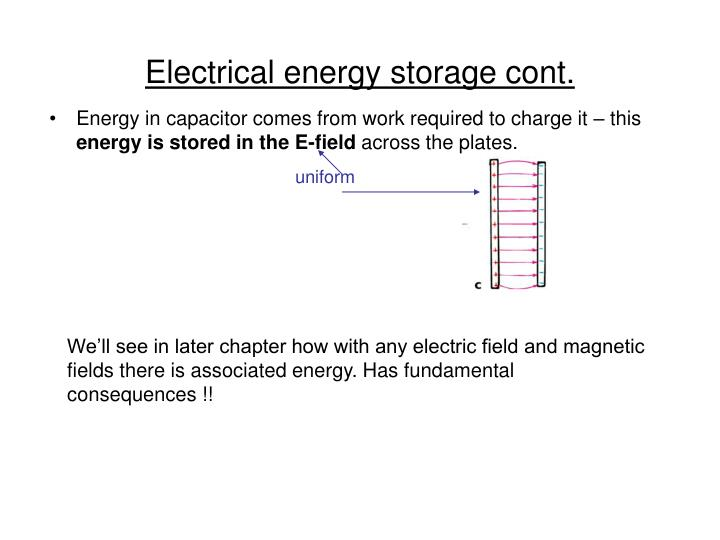Electrical energy storage cont.
