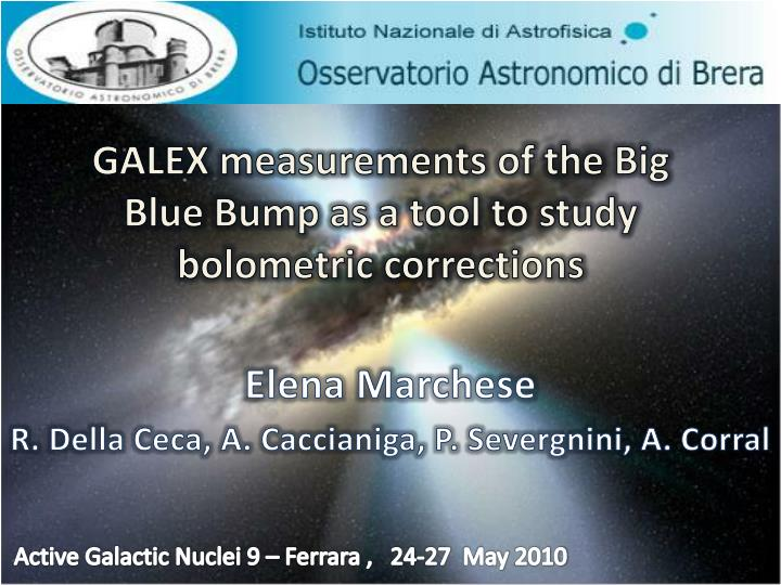 galex measurements of the big blue bump as a tool to study bolometric corrections n.