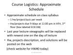 course logistics approximate schedule