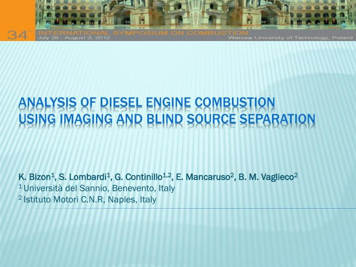 analysis of diesel engine combustion using imaging and blind source separation n.