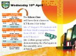 wednesday 10 th april