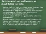 environmental and health concerns about ballard fuel cells