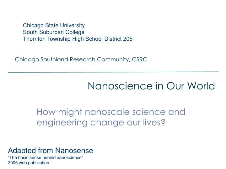 nanoscience in our world n.