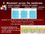 b movement across the membrane