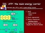 iii atp the main energy carrier