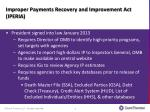 improper payments recovery and improvement act iperia