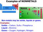 examples of nonmetals