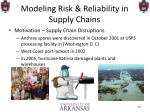 modeling risk reliability in supply chains