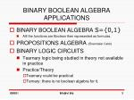 binary boolean algebra applications