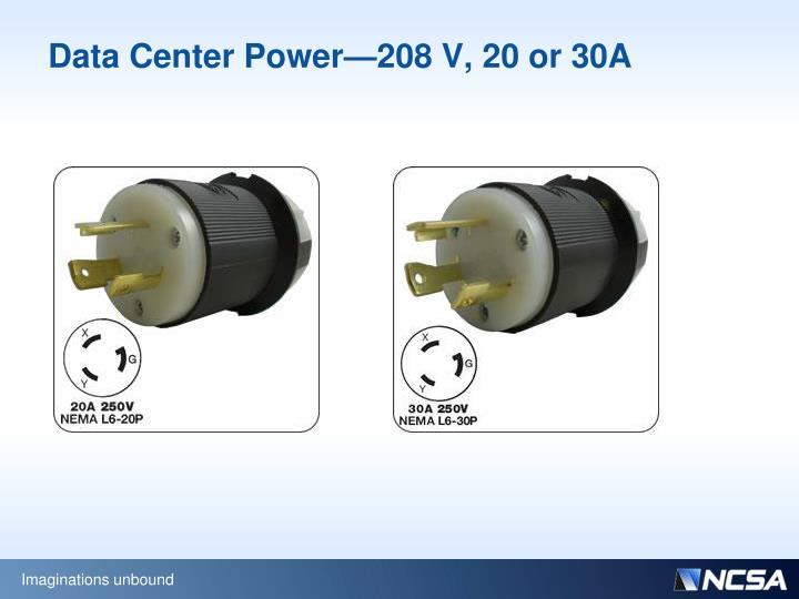 Data Center Power—208 V, 20 or 30A