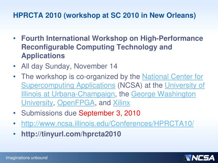 HPRCTA 2010 (workshop at SC 2010 in New Orleans)
