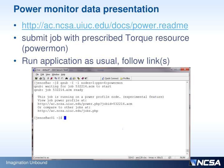 Power monitor data presentation