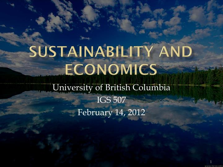 sustainability and economics n.